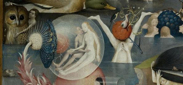 Detail van de Tuin der lusten van Jheronimus Bosch dat in het Prado in Madrid hangt.