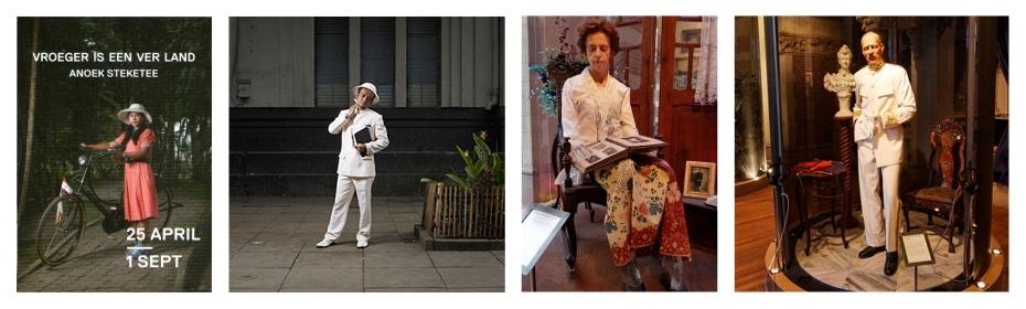 Foto's van Indonesiërs van nu die zich verkleden als Nederlanders in de koloniale tijd tegenover poppen die twee Nederlanders, mevrouw Engelen-Koets en Gouverneur-Generaal B.C. de Jonge, in Nederlands-Indië voorstellen.