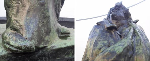 Onder- en bovenkant van Rodins beeld van Balzac in Het Oog van het Van Abbemuseum in Eindhoven.