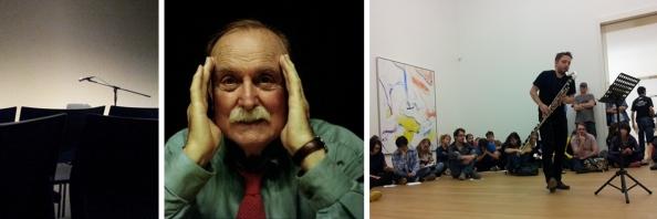 Links: Teijin Auditorium na de performance van Alvin Lucier. Midden: Alvin Lucier (ouder beeld). Rechts: Gareth Davis voert Luciers stuk 'In Memoriam Stuart Marshall' uit. Stedelijk Museum Amsterdam, 18-10-2014.