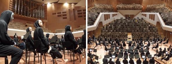 Dummy-orkest van het Laboratorium voor Akoestiek (TU/e) in het Muziekgebouw Eindhoven.