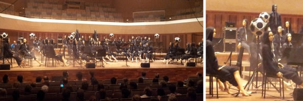 Dummy orkest in het Muziekgebouw Eindhoven tijdens Architectural Acoustics op 20-10-2014.