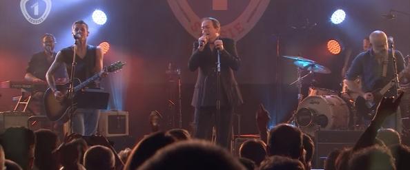 Webcam screenshot van de Radio 1 Sessie van K's Choice met Thé Lau als een van hun muzikale gasten.