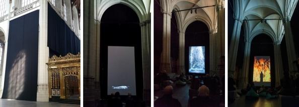 Setting van Bill Viola's 'Tristan's Ascension' en 'Fire Woman' in de Nieuwe Kerk in Amsterdam. De twee rechter foto's zijn gemaakt door Janiek Dam.