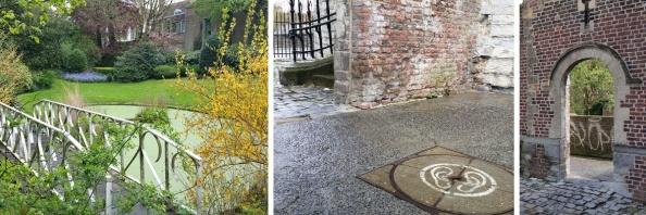 De Messeyne-tuin (1) en het poortje bij de Broeltorens (2).