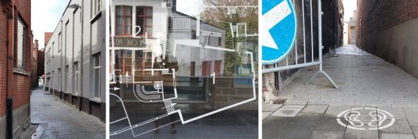 Links: de Trompestraat vanuit de Kapucijnenstraat; midden: de Budafabriek; rechts: de Trompestraat vanuit de Budastraat.